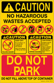 "11 x 17"" Caution No Hazardous Wastes Accepted"