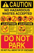 "11 x 17"" Caution No Hazardous Wastes Accepted"