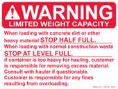 "9 x 12"" Warning Limited Weight Capacity Half Full"