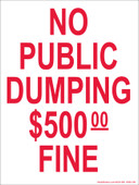 "9 x 12"" No Public Dumping $500 Fine"