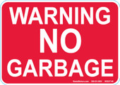 "5 x 7"" Red Warning No Garbage Decal"