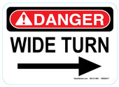 "5 x 7"" Danger Wide Right Turn Sticker Decal"