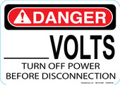 "5 x 7"" Custom Volts Turn off Power Decal"