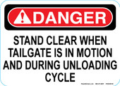 "5 x 7"" Stand Clear When Tailgate is in Motion Decal"