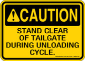 "5 x 7"" Caution Stand Clear Of Tailgate Decal"