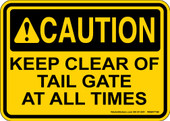 """5 x 7"""" Caution Keep Clear Of Tailgate Decal"""
