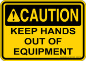 "5 x 7"" Caution Keep Hands Out Of Equipment Decal"