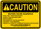 "5 x 7"" Caution Backing Can Be Hazardous Decal"