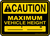 "5 x 7"" Caution Maximum Vehicle Height Decal"