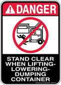 """5 x 7"""" Danger Stand Clear When Lifting Lowering Dumping Container Decal"""