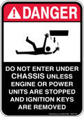 "5 x 7"" Danger Do Not Enter Under Chassis Decal"