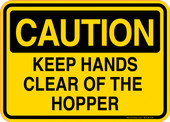 Caution Decal Keep Hands Clear Of The Hopper Sticker