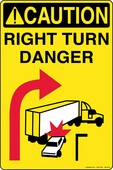 "12 x 18"" Caution Right Turn Danger Tall"