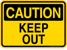 Caution Decal Keep Out.  Roll Off Container Sticker