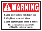 """9 x 12"""" Warning Load Must Be Level: 9 Tons"""
