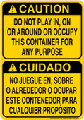 "7 x 10"" Bilingual Caution Do Not Play In, On or Around this Container Sticker Decal"