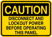 Caution Decal Disconnect And Lockout Power Before Operating This Panel Sticker