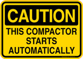 Caution Decal This Compactor Starts Automatically Sticker
