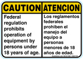"5 x 7"" Caution Bilingual Federal Regulation"