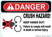 "5 x 7"" Danger Crush Hazard"