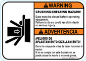 "5 x 7"" Warning Bilingual Crushing / Shearing Hazard"