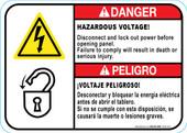 "5 x 7"" Danger Bilingual Hazardous Voltage"