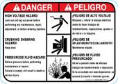 "5 x 7"" Danger Bilingual High Voltage, Crushing, Pressurized Fluid Hazard"