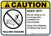 "5 x 7"" Caution Falling Hazard Keep Off"