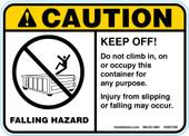 "5 x 7"" Caution Falling Hazard Keep Off"