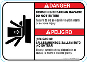 "5 x 7"" Danger Crushing/Shearing Hazard"