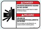 """5 x 7"""" Danger Crushing/Shearing Hazard"""