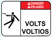 "5 x 7"" Danger Bilingual Volts/Voltios"