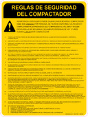 "9 x 12"" Bilingual Compactor Safety Rules Decal"
