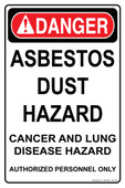 "11 x 17"" Danger Asbestos Dust Hazard"