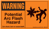 "3x 5"" Warning Potential Arc Flash Hazard"