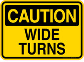 Caution Decal Wide Turns.  Refuse Truck Sticker
