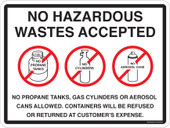 "9x12"" No Hazardous Waste Accepted Container Sticker Decal."