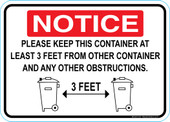 "5 x 7"" Notice 3 Feet From Other Container Sticker Decal"