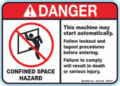 "5 x 7"" Danger Confined Space Hazard Decal"