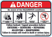 "5 x 7"" Danger Be Aware Of The Hazardous Conditions Decal"