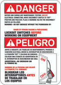 """5 x 7"""" Danger Before And During Any Maintenance Lockout Switches Before Working On Equipment Decal"""