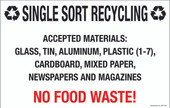 "7 x 11"" Single Sort Recycling  No Food Waste Decal"