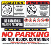 """12.5 X 14"""" Caution, Warning, No Parking, Do Not Block Container Decal"""