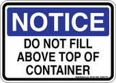 "5 x 7"" Notice Do Not Fill Above Top of Container Sticker Decal"
