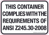 """5 x 7"""" This Container Complies With The Requirements Of ANSI Z245.30-2008  Decal"""