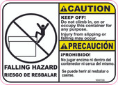 "5 x 7"" Caution Bilingual Falling Hazard Keep Off """