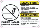 "5 x 7"" Caution Bilingual Falling Hazard Keep Off """