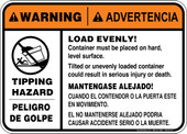 "5 x 7"" Warning Load Evenly Container Must Be On Hard Level Surface Decal"