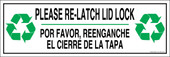 "4 x 12"" Please Re-Latch Lid Lock Bilingual Sticker Decal"