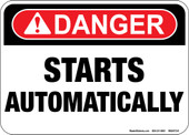 "5 x 7"" Danger Starts Automatically Decal"